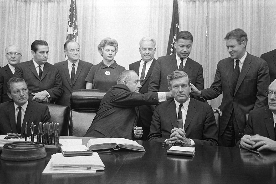 President Lyndon Baines Johnson with some members of the Kerner Commission in the Cabinet Room of the White House, Washington, D.C., 1967