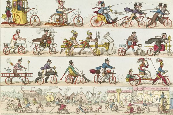 Print shows men and women riding bicycles and tricycles to a fair, 1819