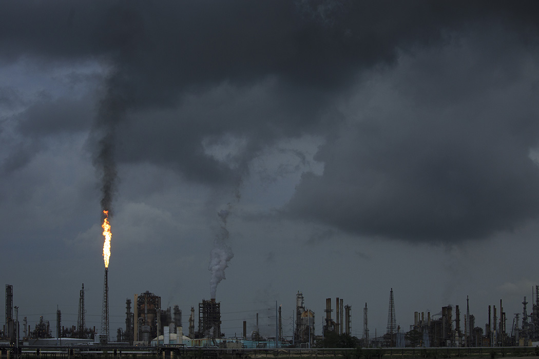 A gas flare from the Shell Chemical LP petroleum refinery illuminates the sky on August 21, 2019 in Norco, Louisiana
