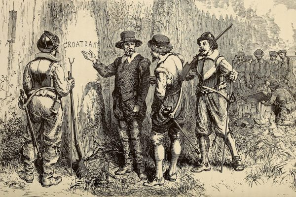 The Lost Colony, design by William Ludwell Sheppard, engraving by William James Linton.