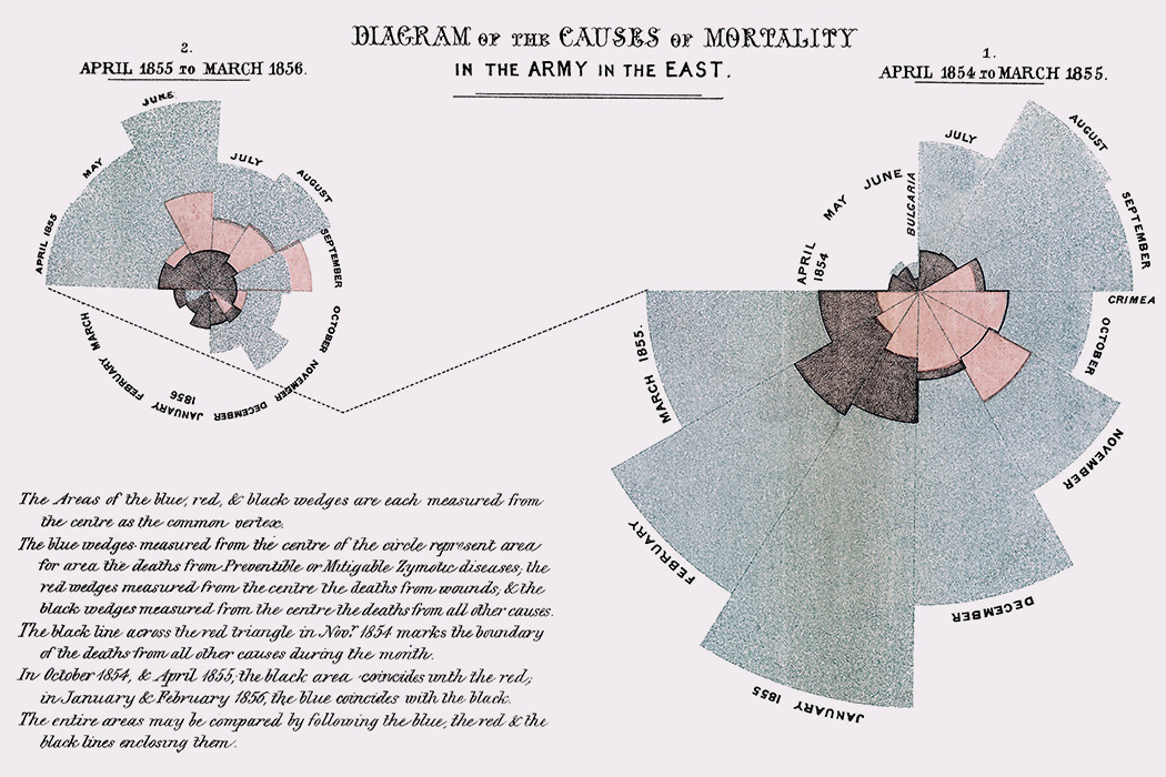 """Diagram of the causes of mortality in the army in the East"" by Florence Nightingale, 1858"