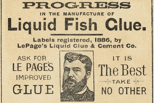 A 19th century advertisement for fish glue