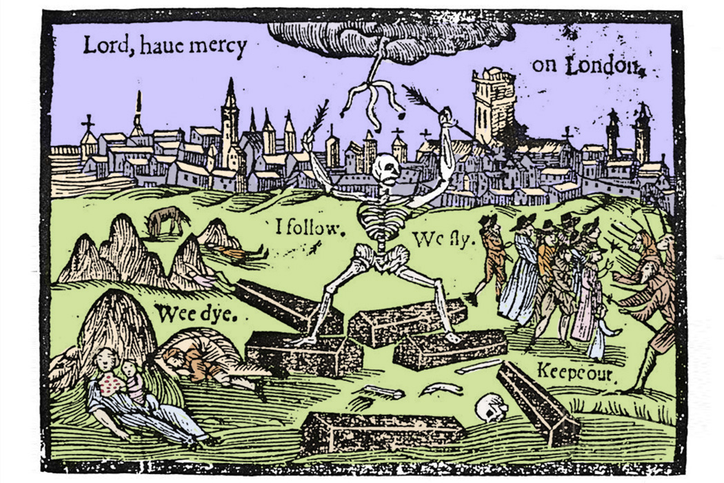 "Colorized print of a woodcut used as the cover page for Thomas Dekker's 1625 plague pamphlet ""A Rod for Run-Awayes"""