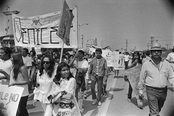 Chicano Moratorium Committee antiwar demonstrators, East Los Angeles, 1970