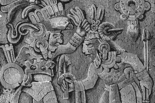 Sketch of a Mayan sacrificial stone, the engravings on the stone show men in ceremonial dress engaging in a blood-letting ritual.