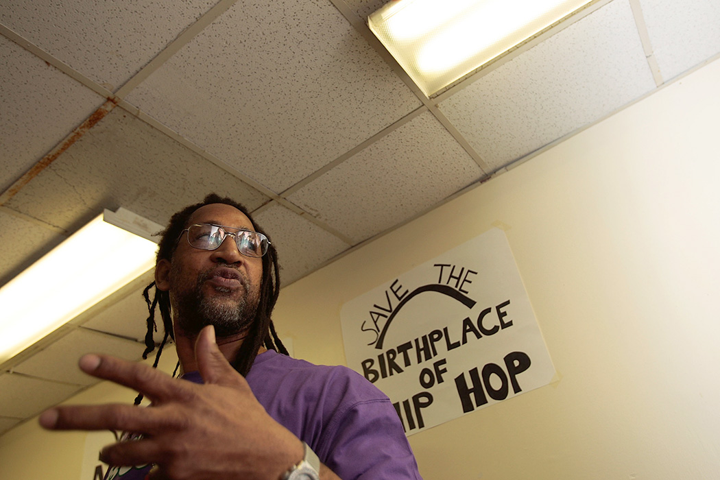 DJ Kool Herc speaks during a press conference about the fate of 1520 Sedgwick Avenue, a building considered by many to be the birthplace of hip hop on January 15, 2008 in the Bronx