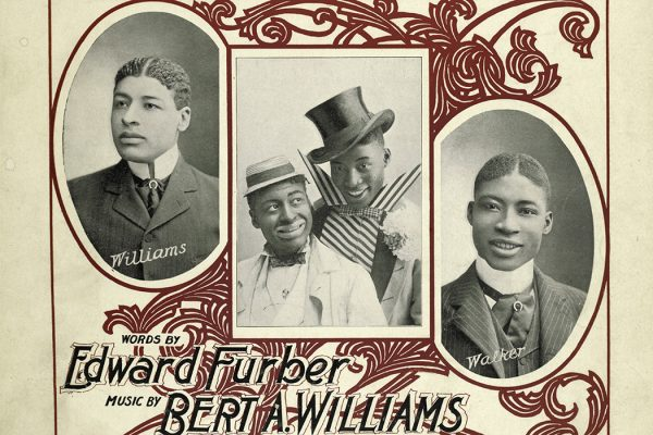 "The cover of a music book for the musical ""He's Up Against The Real Thing Now,"" starring Bert Williams and George Walker, 1898"