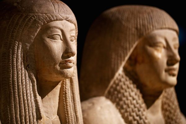 A statue of Maya and Merit displayed in part in the permanent Egyptian collection at the National Museum of Antiquities or Rijksmuseum van Oudheden in Leiden, Netherlands.