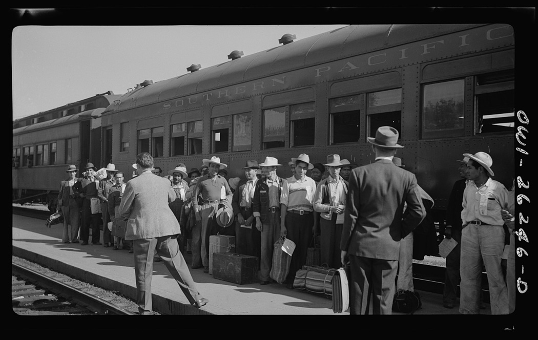 Mexican agricultural laborers arriving by train to help in the harvesting of beets in Stockton, California, 1943