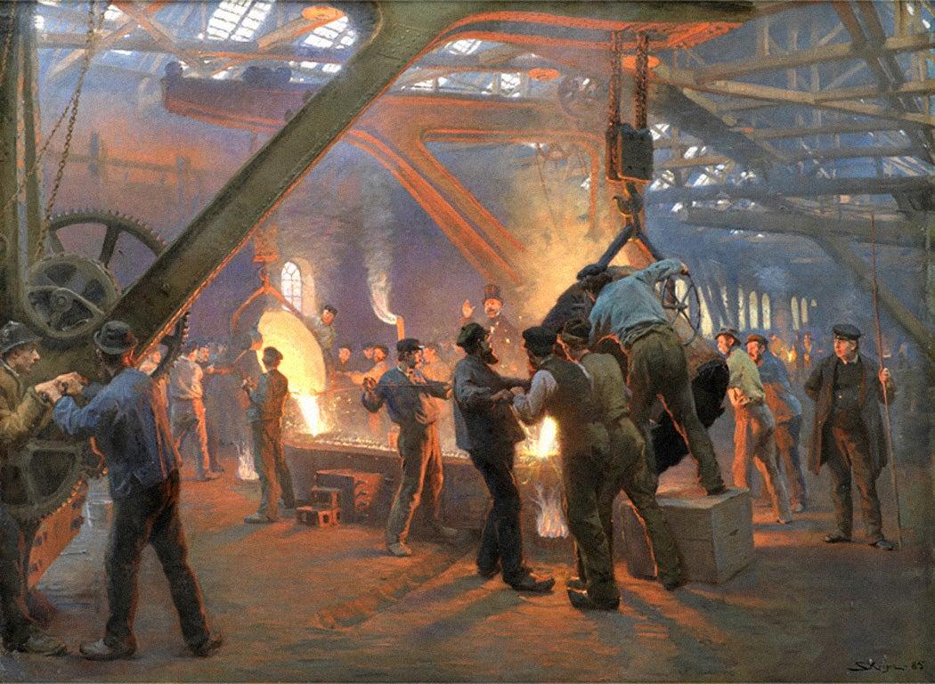 Fra Burmeister og Wains jernstøberi by Peder Severin Krøyer, 1885