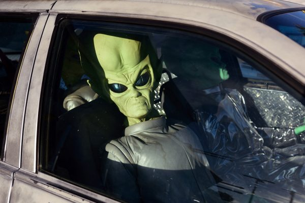 Alien in a car at Baker, San Bernardino County, California, USA
