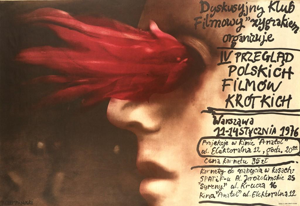 A poster advertising the IV Review of Polish Short Films, organized by the Zygzakiem Cinema Club in Warsaw, January 11-14, 1976.