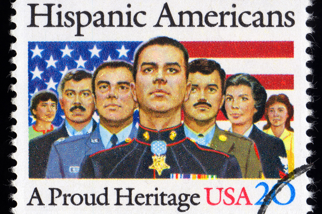 A U.S. postage stamp depicting Hispanic Americans