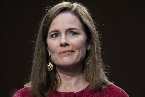 UNITED STATES - OCTOBER 13: Supreme Court justice nominee Amy Coney Barrett testifies on the second day of her Senate Judiciary Committee confirmation hearing in Hart Senate Office Building on Tuesday, October 13, 2020. (Photo By Tom Williams/CQ Roll Call/POOL)