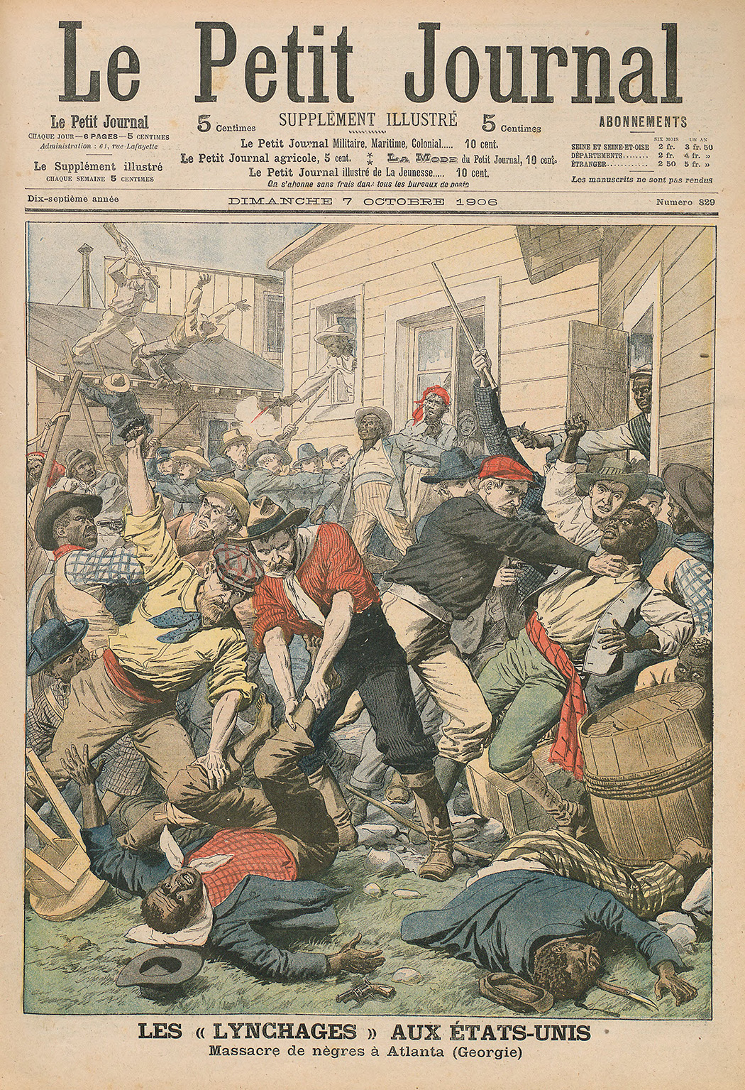 "Cover of ""Le Petit Journal"", 7 October, 1906. Depicting the race riots in Atlanta, Georgia."