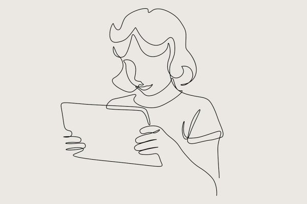 A line drawing of a girl with a tablet