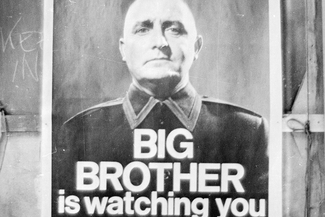 A poster with the famous words 'Big Brother is Watching You' from a BBC TV production of George Orwell's classic novel '1984'.
