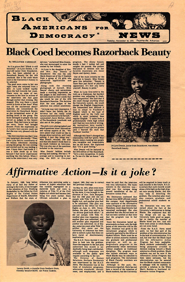 An issue of Black Americans for Democracy News, November 18, 1975