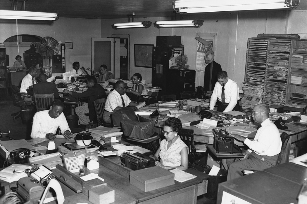 Workers at the offices of the Pittsburgh Courier newspaper, Pittsburgh Pennsylvania, 1946. At the time the Courier was one of the top-selling African-American newspapers in the United States.