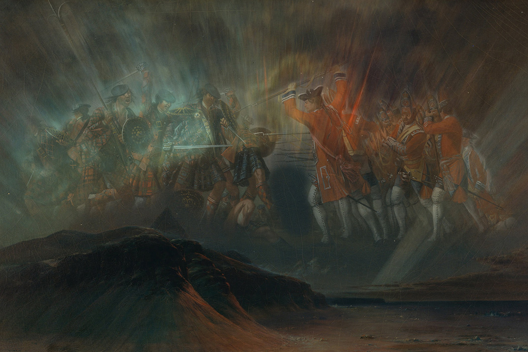 Aurora Borealis by Frederic Edwin Church overlaid with The Battle of Culloden by David Morier