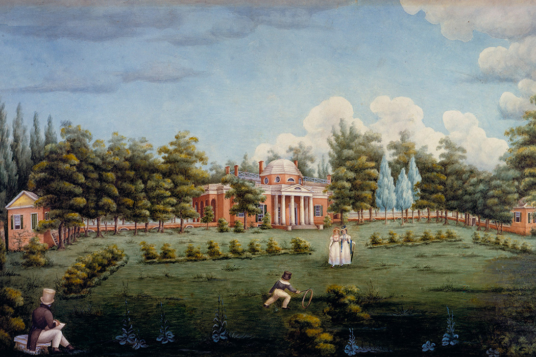 View of the West Front of Monticello and Garden by Jane Braddick, 1825