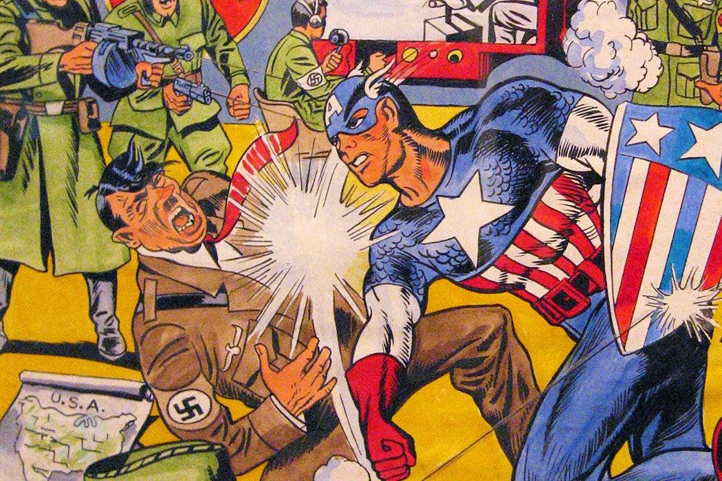 Captain America punching a Nazi