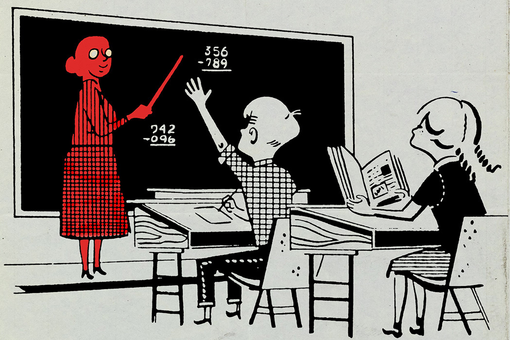 classroom with Two children Doing Arithmetic. The teacher is colored red.