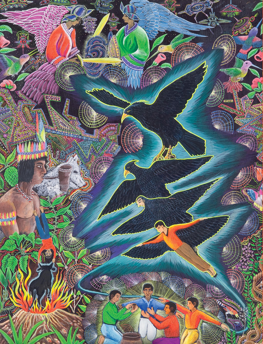 Illustration of an Ayahuasca visual by Pablo Amaringo