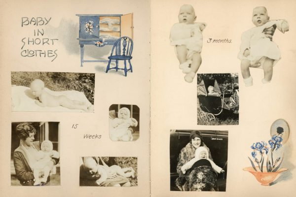 Two pages from a baby book from the 1920s