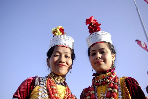 Two Khasi girls in traditional dress at the Shad Suk Mynsiem dance, Shillong, Meghalaya, India
