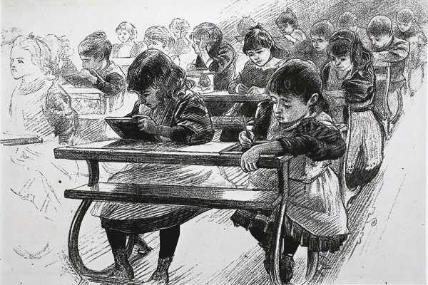 Illustration: An arithmetic class at a school in London, England. Published in the Illustrated London News, October 3, 1891  Source: Getty