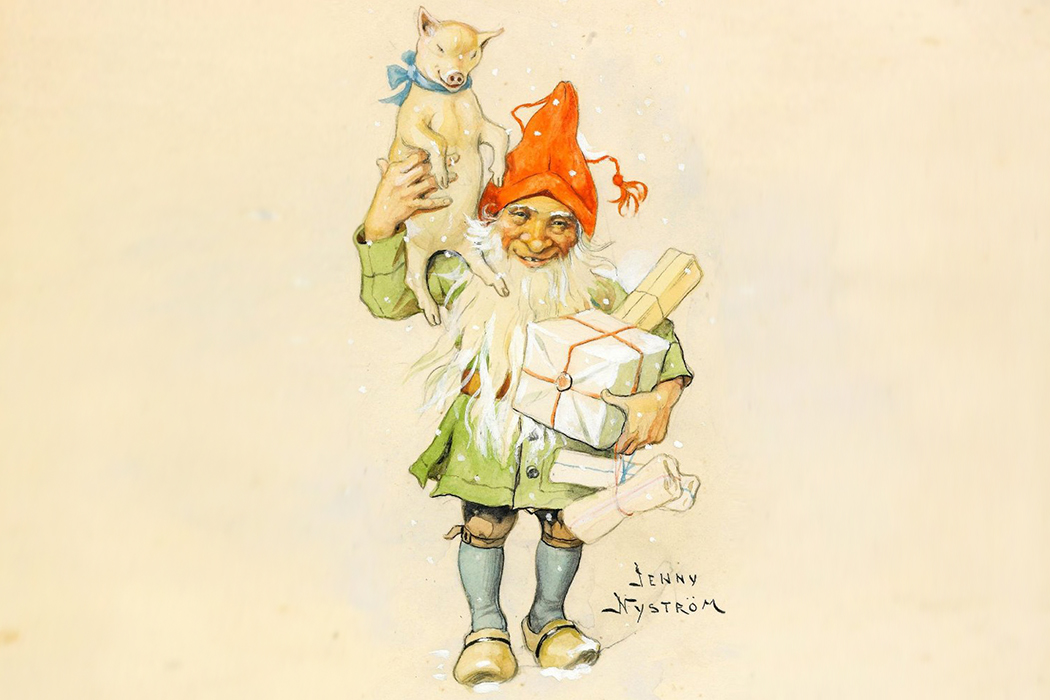 An elf carrying gifts