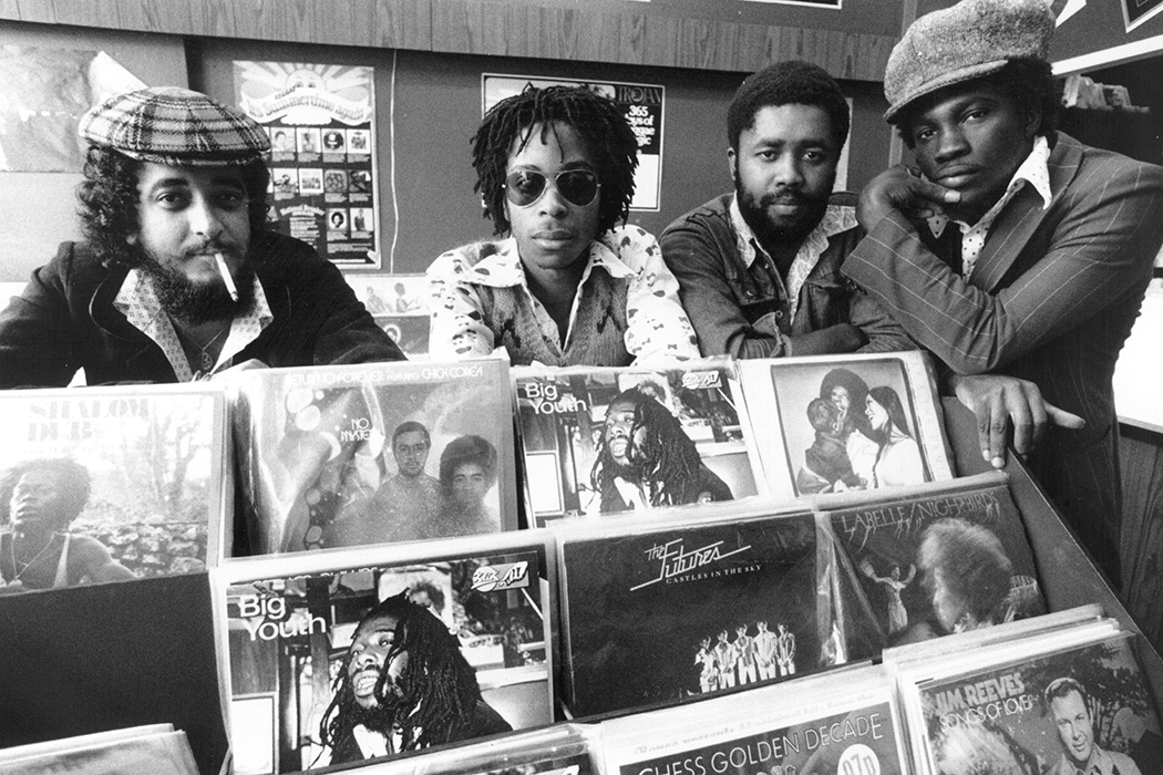 From left, Desmond Bryan, Caesar Andrews, Delroy Witter and Ken Murray, in the 'Into Reggae' record shop, 3rd October 1975.