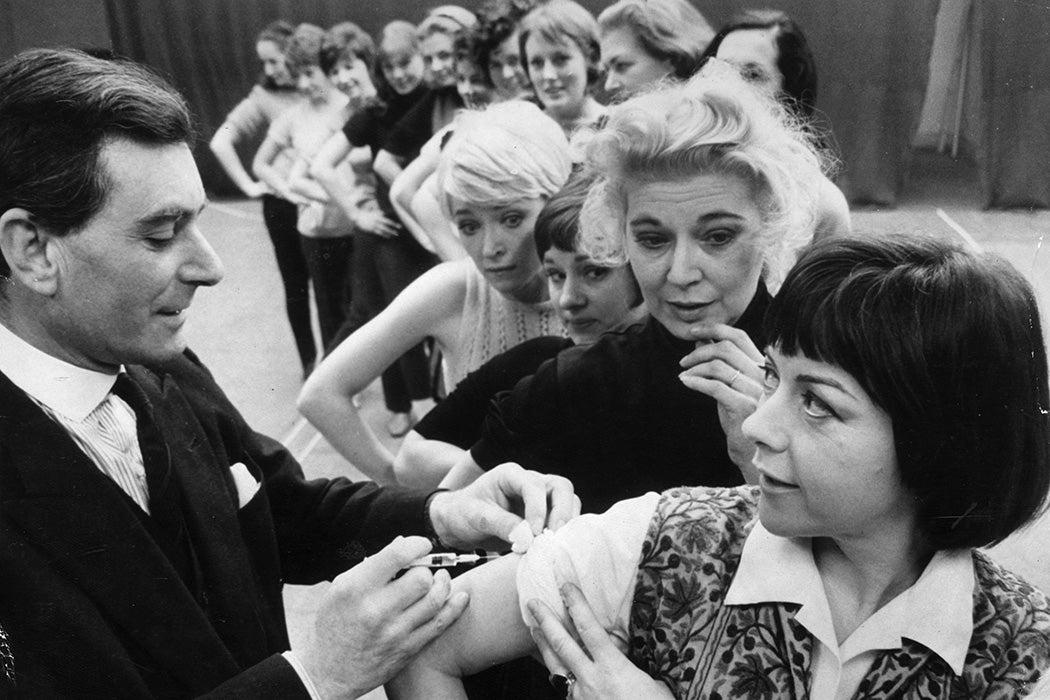 Actress Dorothy Tutin having an anti-flu injection, 1969