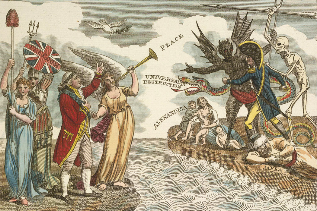 On the left stands King George III surrounded by symbols of British peace and liberty, while across the Channel the figure of Napoleon is stalked by poverty and 'universal destruction'.
