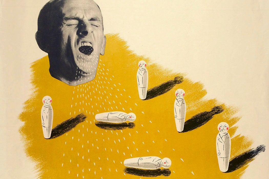 An illustration of a man sneezing