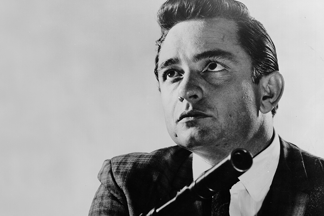 """Johnny Cash poses for a portrait for a publicity shot for his movie debut in """"Door-to-Door Maniac"""" aka """"Five Minutes To Live"""" on Auust 3, 1960 in Los Angeles, California."""