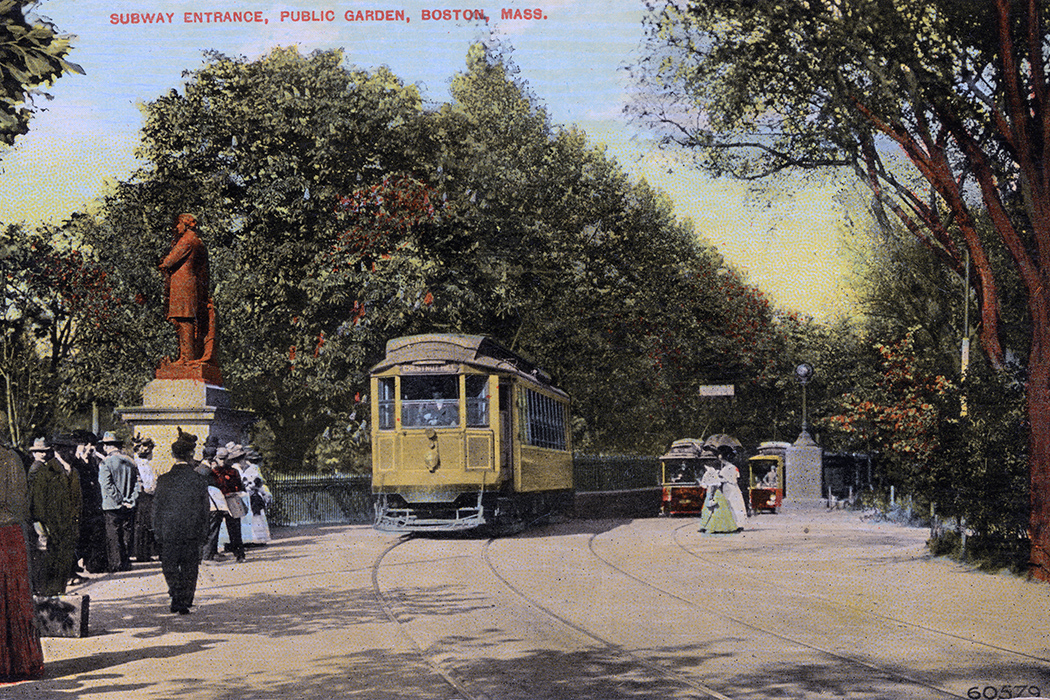 A postcard showing three trolleys at the Public Gardens Portal in Boston sometime before 1914