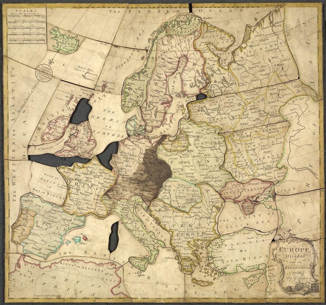 """Spilsbury jigsaw """"Europe divided into its kingdoms,"""" 1766"""