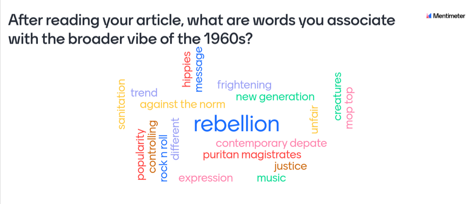 word cloud based on JSTOR Daily articles about the 1960s