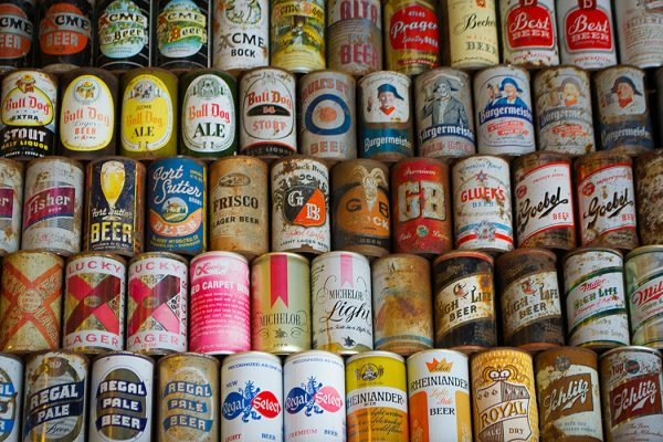 A collection of rare beer cans