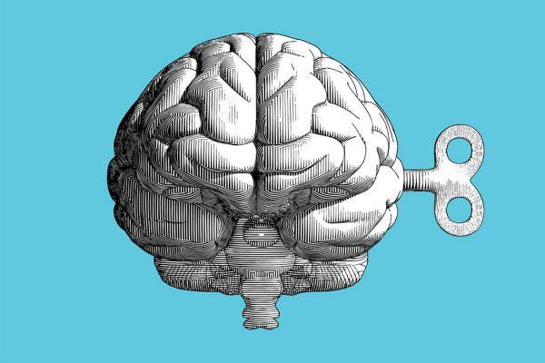 Monochrome vintage engraving drawing human brain with wind up key