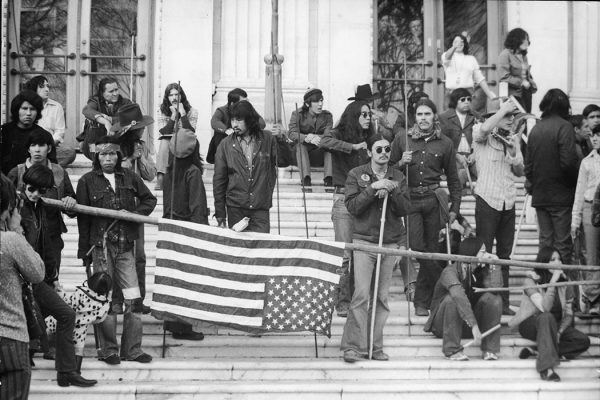 A large group of Native Americans stage a protest over land rights by occupying the Bureau of Indian Affairs building and steps in front, Washington DC, November 6, 1972.
