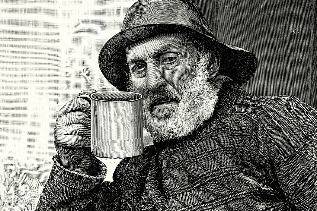 Vintage engraving of an old fisherman drinking a cup of tea, 1900