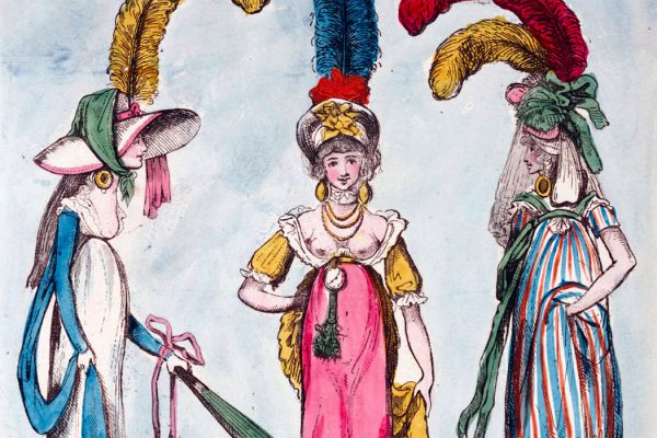 a caricature of three women whose depicted clothing satirizes the beginnings of neo-classical fashion influences in England.