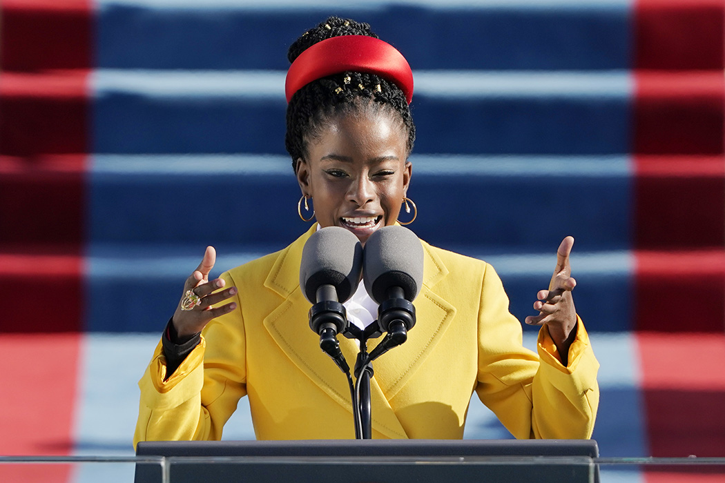 American poet Amanda Gorman reads a poem during the the 59th inaugural ceremony on the West Front of the U.S. Capitol on January 20, 2021 in Washington, DC.