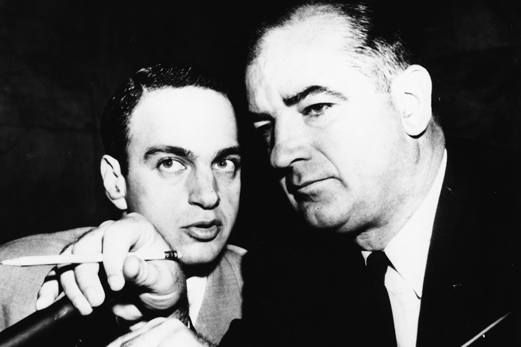 Senator Joseph McCarthy talking to attorney Roy Cohn, c. 1954