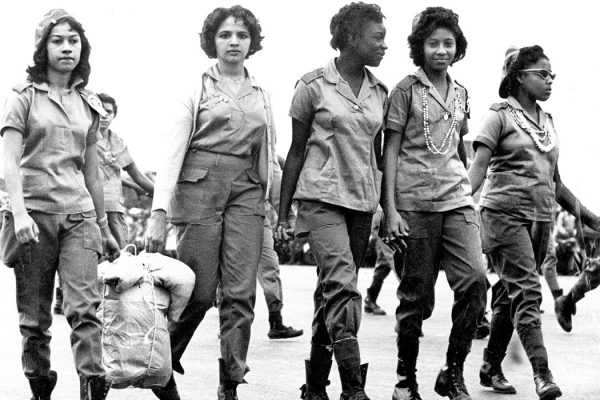Five female literacy volunteers return to Havana at the end of the literacy campaign in December 1961.