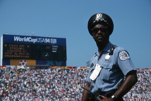 A policeman is seen during the World Cup match between Germany and Bolivia on June 17, 1994 in Chicago