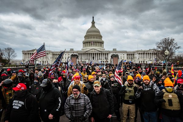 Pro-Trump protesters gather in front of the U.S. Capitol Building on January 6, 2021 in Washington, DC.